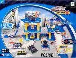 Police 71 Darabos Kisautó Autó Parkoló Parkolóház Szett 3 Emeletes 1:64 Fém Autókkal 2 Db Autó 1 Helikopter