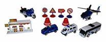 BDR 12 Darabos Játékok Rendőrség Rendőrségi Jármű Szett Autók Benzinkút Utcatáblákkal Autó