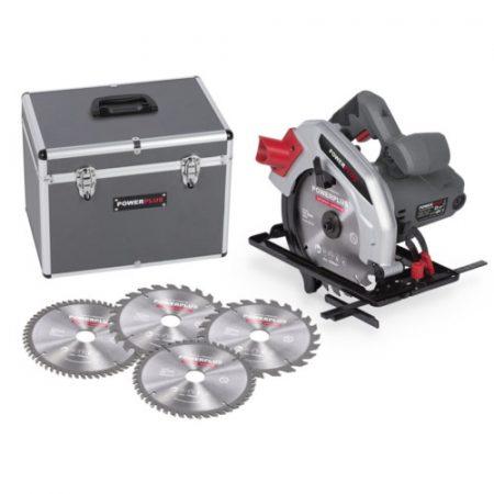 POWE4 kézi körfűrész szett körfűrész POWE30050 1200W+koffer+4db fűrésztárcsa 185mm
